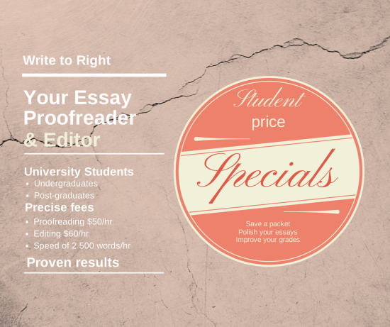 Student special for proofing and editing - Write to Right